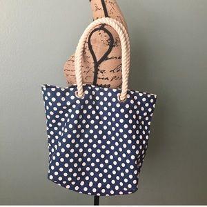 Forever 21 blue white polkadot canvas tote bag!